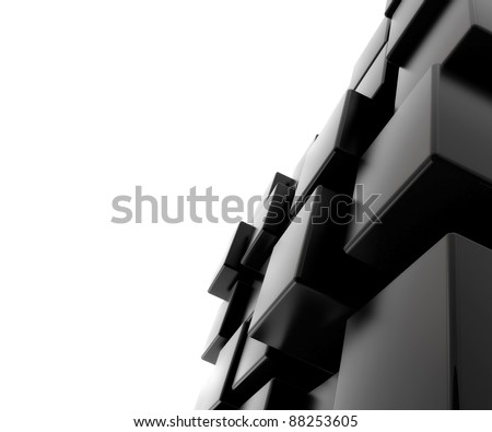 3d abstract black cubic background - stock photo