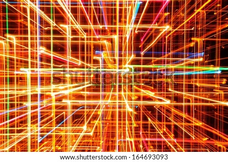 3D Abstract Bright Multicolored Glowing Lines as Background - stock photo