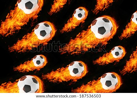 3d abstract burning soccer football field background - stock photo