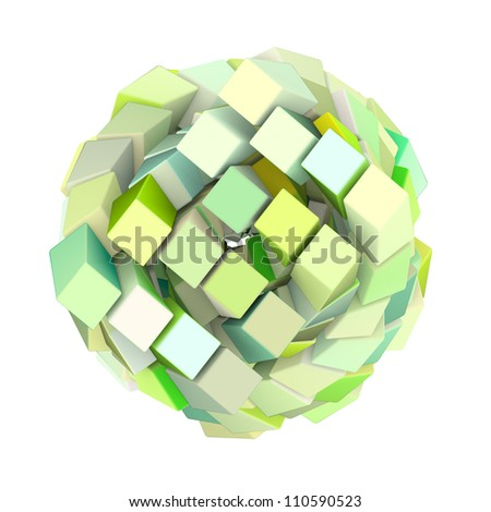 3d abstract cube ball shape in green yellow on white - stock photo