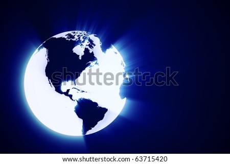 3d abstract earth shine - stock photo