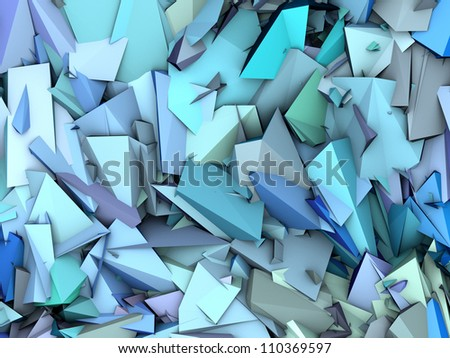 3d abstract fragmented pattern blue purple backdrop - stock photo