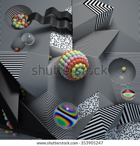 3d abstract geometric shapes with small dashes and monochrome striped texture. - stock photo
