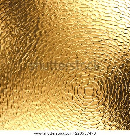 3d abstract gold metal background, golden metallic texture - stock photo