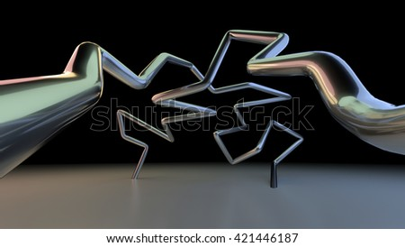 3D abstract lines illustration on a dark background - stock photo