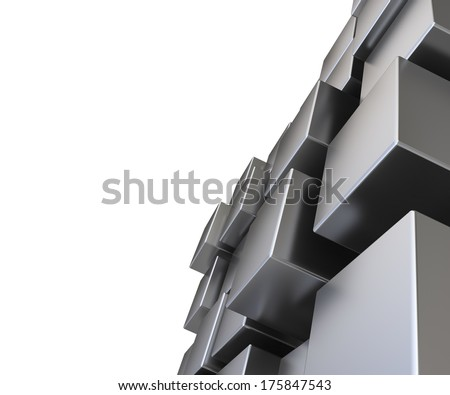 3d abstract metal cubic background - stock photo