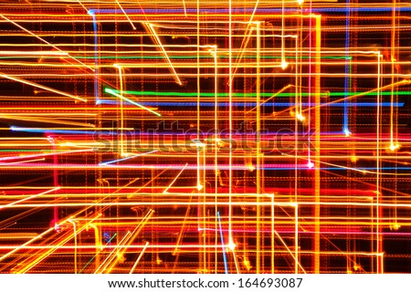 3D Abstract Multicolored Glowing Lines as Background - stock photo