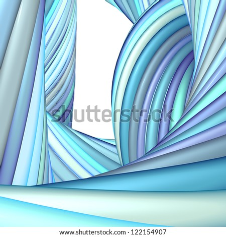 3d abstract render blue purple organic wave pattern - stock photo