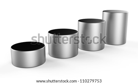 3d abstract round metal bars... - stock photo