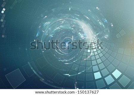 3D abstract science fiction futuristic background - Space travel - Teleport  - stock photo