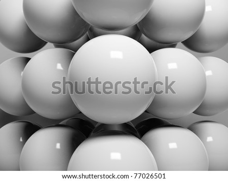 3d abstract spheres with reflective surface - stock photo