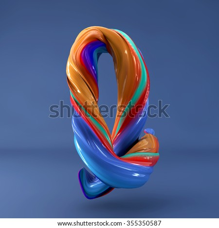 3d abstract wavy dabs of  paint alphabet on blue background. Uppercase letter I - stock photo