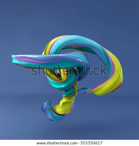 3d abstract wavy dabs of  paint alphabet on blue background. Uppercase letter P - stock photo