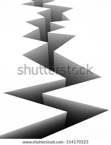 3d abyss on white background - stock photo