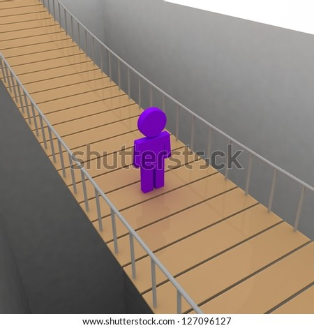 3d abyss with alone man standing on bridge - stock photo