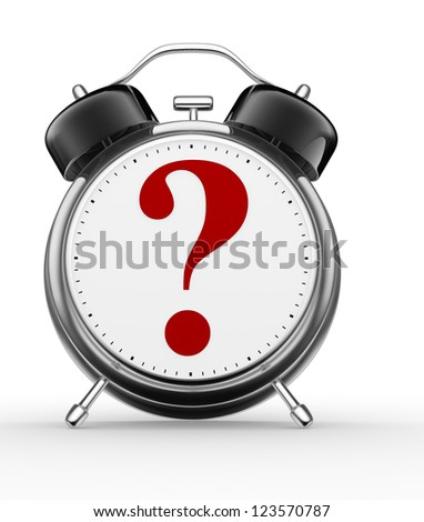3d alarm clock and a question mark - stock photo