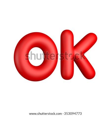 "3D Alphabet "" OK "" Concept Success of Design icon isolated - stock photo"