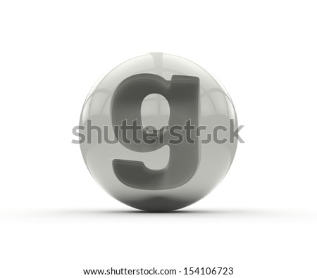 3D alphabet, spherical letter g isolated on white background - stock photo