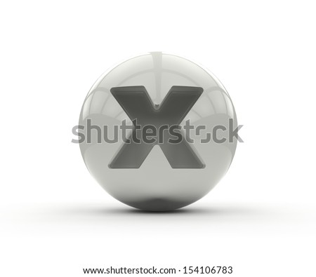3D alphabet, spherical letter x isolated on white background - stock photo