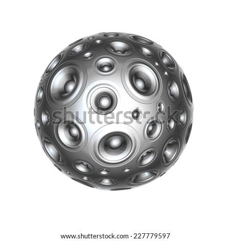 3d aluminium speaker sound system over white  - stock photo