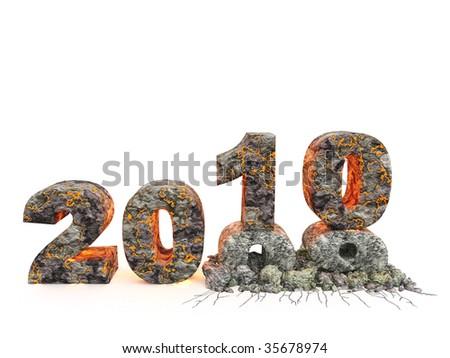 3D an inscription 2010. A material - a volcanic lava, effect of destruction of an inscription 09 - stock photo