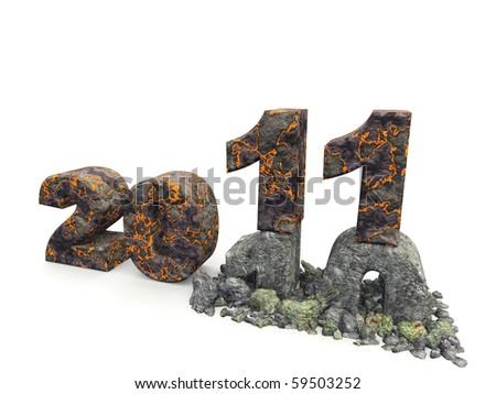 3D an inscription 2011. A material - a volcanic lava, effect of destruction of an inscription 10 - stock photo