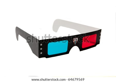 3d anaglyph glasses isolated on white background - stock photo