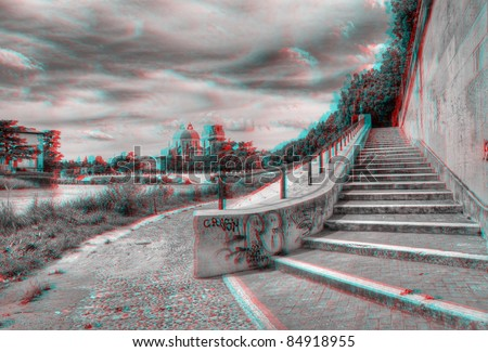 3D anaglyph image of the 'Adige' river, in Verona, Italy. View with red/cyan glasses. - stock photo