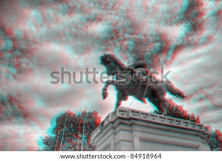 3D anaglyph image of the statue of Vittorio Emanuele on horseback in Piazza Bra, Verona, Italy. View with red/cyan glasses. - stock photo