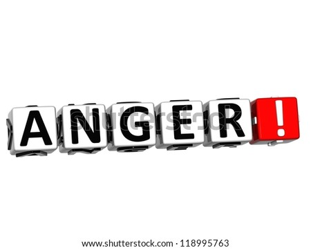 3D Anger Button Click Here Block Text over white background - stock photo