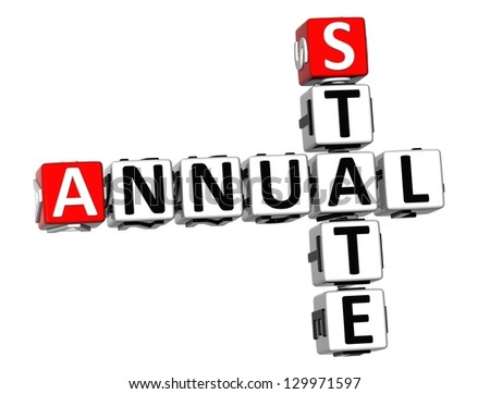 3D Annual State Crossword on white background - stock photo