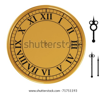 3d antique old clock on white background - stock photo