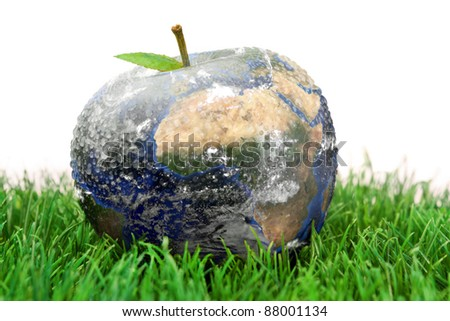 3d apple Earth on the grass against a white background - stock photo