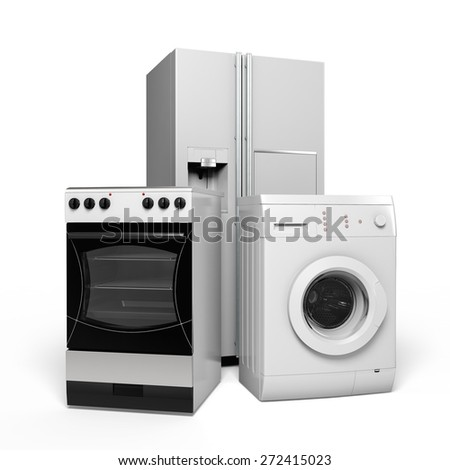 3D. Appliance, Refrigerator, Clothes Washer. - stock photo