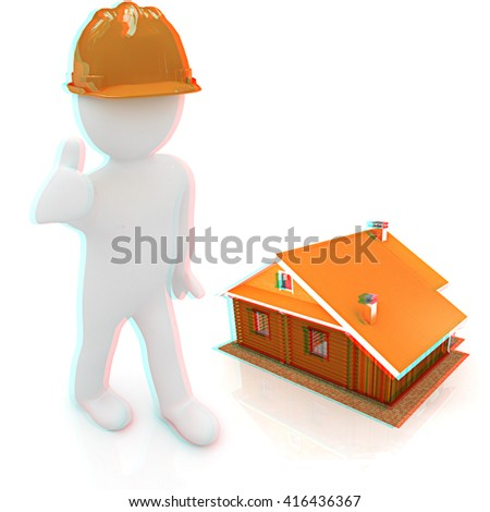 3d architect in a hard hat with thumb up with real plans. 3d image. Isolated white background. . 3D illustration. Anaglyph. View with red/cyan glasses to see in 3D. - stock photo
