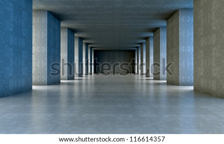 3d architecture.cement structure with columns - stock photo