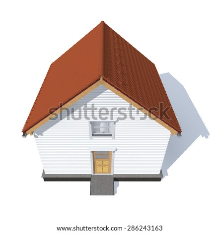 3D architecture model house red  isolated in white - stock photo