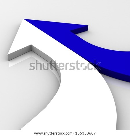 3d arrow blue and white merging - stock photo