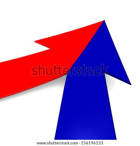 3d arrow bright merging  - stock photo