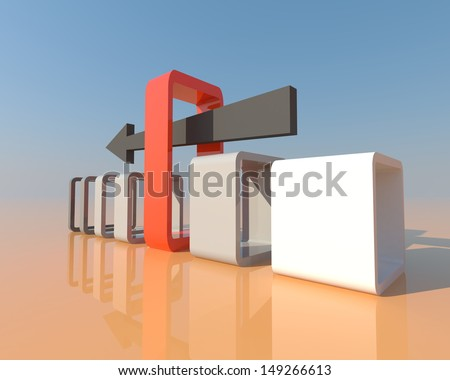3D arrow is thrusting to the right path and in the right occasion. It's a business and concept of opportunities happening in real life. - stock photo