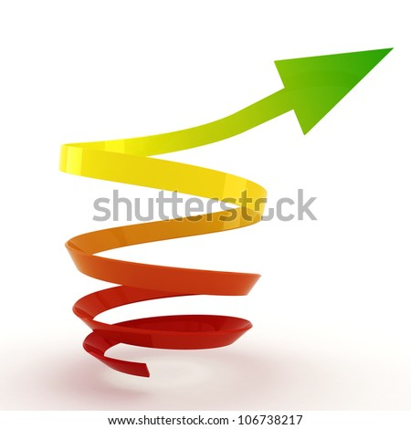 3d arrow pointing up ! - stock photo