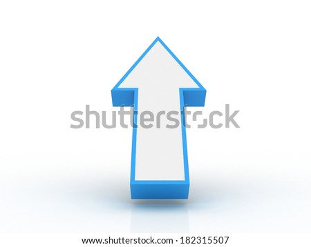 3d arrow pointing up isolated on white background - stock photo
