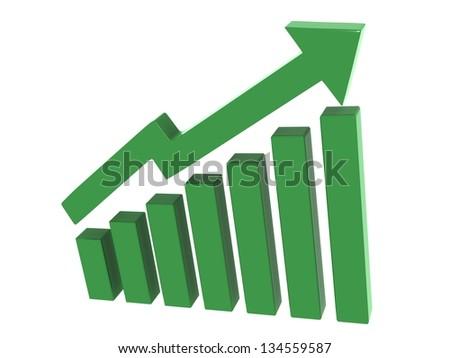 3d arrow showing pathway upwards gaining money profit in business - stock photo