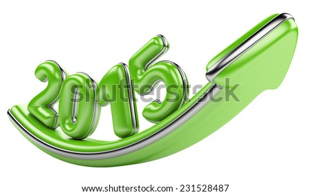3D arrow with year 2015 growth upward, isolated on a white background - stock photo