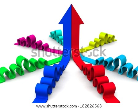 3d arrows bright merging - stock photo