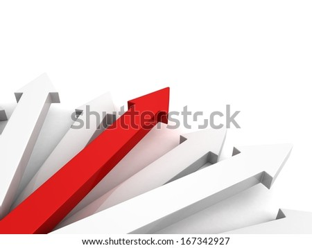 3d arrows group business success concept red leader - stock photo