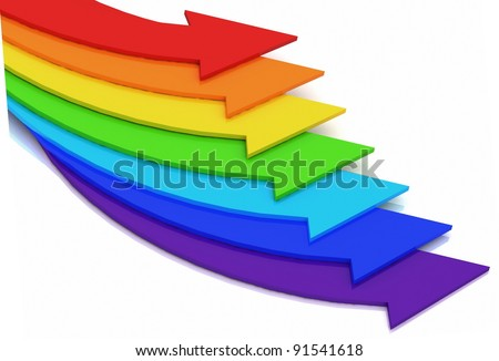 3d arrows of color of rainbow on a white background - stock photo