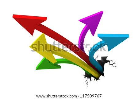3d arrows reaching out from a crack - stock photo