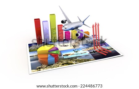 3d arrows, tourist economy concept - stock photo