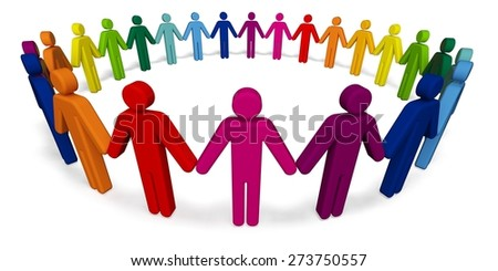 3D. Assistance, People, Circle. - stock photo